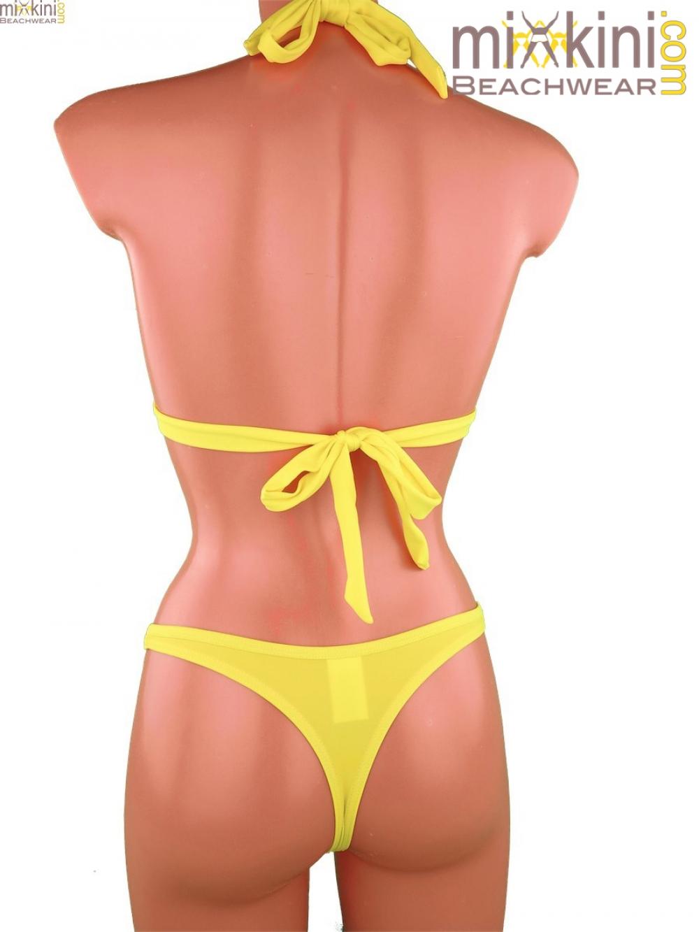 gelbe string bikinis kombi mit sch nem oberteil mixkini. Black Bedroom Furniture Sets. Home Design Ideas