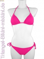 unifarbenen Triangel Bikini: Bikini Triangel einfarbig in pink